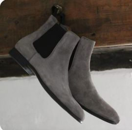 Handmade Men's Dark Gary Chelsea Ankle Dress Boots, Real Suede Office Business Boots.
