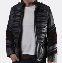 Men Black Military Leather Jacket Style Jacket, Leather Jacket