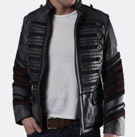 Men Black Military Leather Jacket Style Jacket, Leather Jacket