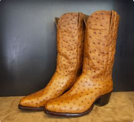 Handmade Men's Tan High Ankle Boots, Ostrich Texture Leather Cowboy Boots.