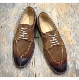 New Handmade Men Lace Up Round Toe Dress Shoes, Real Leather Shoes For Mens