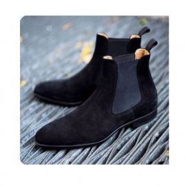 Handmade Men Black Chelsea Ankle Dress Boot, Men Formal Suede Business Boot