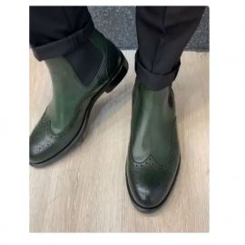 Handmade Men Green Wing Tip Brogue Chelsea Boot, Mens Formal Boots