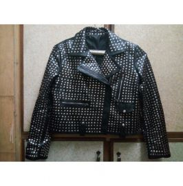 Men Silver Studded Leather Black Rock Punk Style Studded Leather Jacket