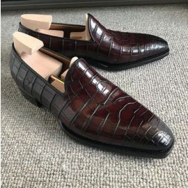 Handmade Men's Maroon Cap Toe Moccasin Crocodile Texture Leather Dress Shoes