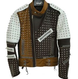 Men's Silver Studded Leather Jacket Black/White/Brown Leather Jacket