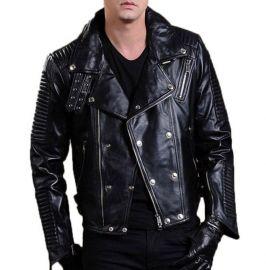 Mens Biker Leather Jacket, Men Fashion Black Motorcycle Jacket, New Jackets