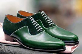 Handmade Men Green Lace Up Dress Business shoes, Real Leather Suede Office Shoes