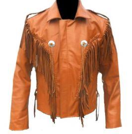 Men Tan Western Style Leather Jacket ,Cowboy Cowhide Leather Fringe Jacket
