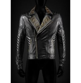 Handmade Men's Golden Studded Biker Jackets, Real Leather Jackets