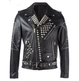 Men Classic Sliver Studded Leather Motorcycle Jacket, Biker Leather Jacket