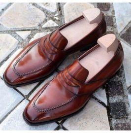 Men's Brown Leather Shoes Moccasins, Men Formal Shoes, Dress Shoes