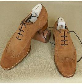 Handmade Men Wing Tip Brogue Dark Beige Suede Formal Shoes Brogue Shoes