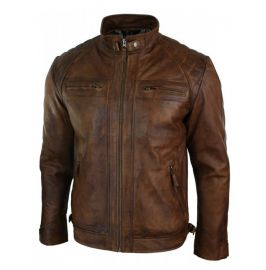 Handmade Men's Burnished Brown Biker Stand Collar Jackets, Real Leather Jackets