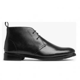 New men Black chukka lace up low ankle leather dress boot, formal boot, business boots
