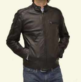 New Men Biker Leather Jacket, Fashion Motorcycle Black Leather Jacket
