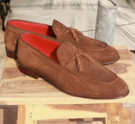 Handmade Men Brown Tassels Moccasin Office Shoes, Real Suede Dress Shoes