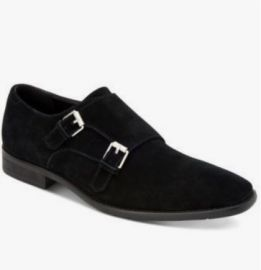 New Black Double Monk Strap Dress Office Shoes, Real Suede Men Shoes