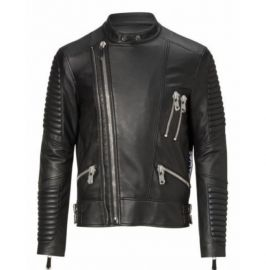 Handmade Men's Black Bomber Leather Jackets, Real Leather Dress Jacket