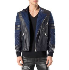 Handmade Men's Blue and Black Designing Jackets, Real Leather Dress Jackets