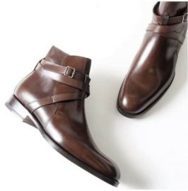 Handmade Pure Brown Leather Ankle Strap Boots for Men's