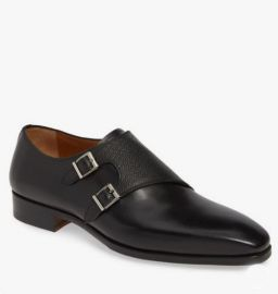 Double Monk Strap Black Dress Formal Business Shoes, Real Leather Office Shoes