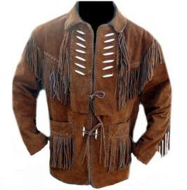 Men Brown Suede Western Jacket,Suede Leather Jacket , Suede Cowboy Jackets