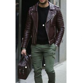 Handmade Men's Burgundy Fashionable Collared Jackets, Real Leather Dress Jackets