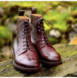 Handmade Pure Burgundy Shaded Leather Ankle Boots for Men's