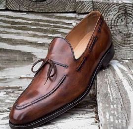 Handmade Men's Burnished Dark Brown Laces Style Moccasin Dress Shoes, Real Leather Shoes