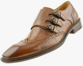 Handmade Men's Brown Triple Monk Strap Wing Tip Brogue Dress Business Shoes, Real Leather Office Shoes.