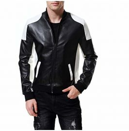 Mens Two Tone Biker Leather Jacket, Mens Leather Rib Collar Fashion Jacket
