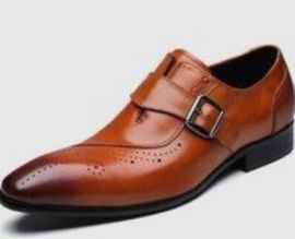 Handmade Dark Tan Brogue Single Monk Strap Business Shoes, Real Leather Office shoes