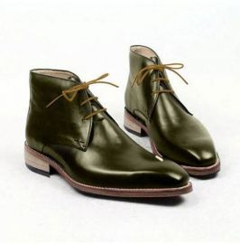 Men's Brogue Chukka Boot, 's Green Leather Lace Up Chukka Boot