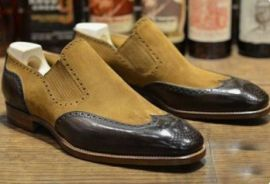 Handmade Men's Wing Tip Brogue Moccasin Formal Dress Shoes, Real Leather and Suede Office Shoes