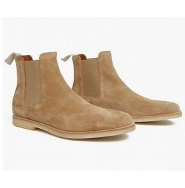 Men's Handmade 's Chelsea Dress Slip On Beige Suede Ankle High Boots