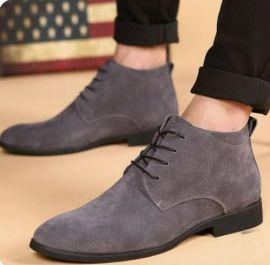 Handmade Men's Gray Chukka Low Ankle Lace Up Dress Boots, Real Suede Office Business Boots.