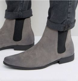 Handmade Men's Gray Chelsea Ankle Dress Boots, Real Suede Office Business Boots.