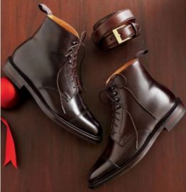Handmade Men's Dark Brown Chukka Lace Up Ankle Dress Boots, Real Leather Office Business Boots.
