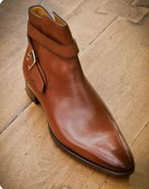 New brown jodhpur dress boots, leather monk strap business boot