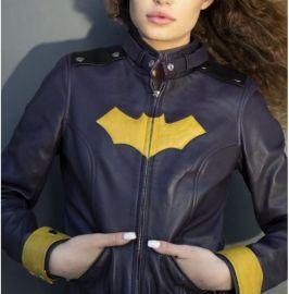 Womens Batgirl Purple Yellow Bat Jacket Motorcycle, Real Leather Jackets