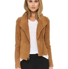 Women Tan Brown Suede Jacket, Fashion Biker Suede Jacket