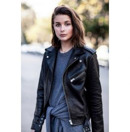 Women Black Leather Moto Jacket, Womens Fashion Black Leather Biker Jacket