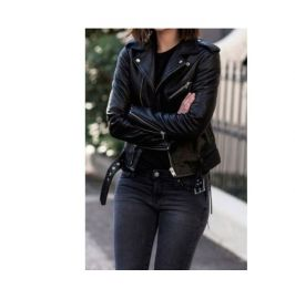 Women Black Leather Moto Jacket, Womens Fashion Black Leather Belted Jacket