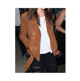Women Celebrities Fashion Motorcycle Tan Suede Jacket, Biker Jacket