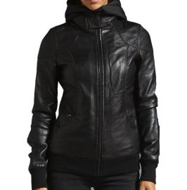 Women Black Removable Hooded Black Leather Jacket, Biker Style Jacket