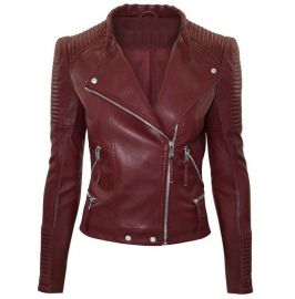 Women Maroon Color Leather Jacket Biker Stylish Zipper Jacket