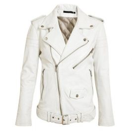 Women Fashion White Leather Jacket , Lambskin Biker Jacket For Women's