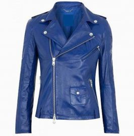 Women Fashion Leather Jacket Blue Leather Jacket, Biker Style Jacket