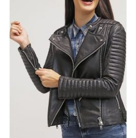 Women Fashion Black Leather Jacket , Lambskin Biker Style Jacket For Womens